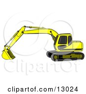 Bright Yellow Trackhoe Excavator Clipart Illustration