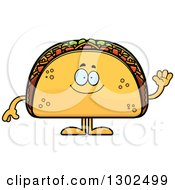 Clipart Of A Cartoon Happy Friendly Taco Food Mascot Character Waving Royalty Free Vector Illustration