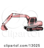 Pink Trackhoe Excavator Clipart Illustration