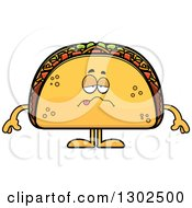Clipart Of A Cartoon Sick Taco Food Mascot Character Royalty Free Vector Illustration by Cory Thoman