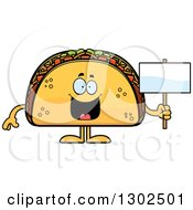 Cartoon Happy Taco Food Mascot Character Holding A Blank Sign