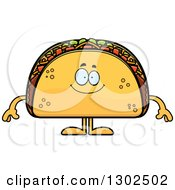 Clipart Of A Cartoon Happy Taco Food Mascot Character Smiling Royalty Free Vector Illustration by Cory Thoman