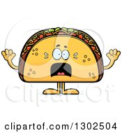 Clipart Of A Cartoon Scared Taco Food Mascot Character Screaming Royalty Free Vector Illustration by Cory Thoman