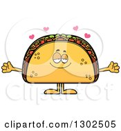 Clipart Of A Cartoon Loving Taco Food Mascot Character With Open Arms And Hearts Royalty Free Vector Illustration by Cory Thoman