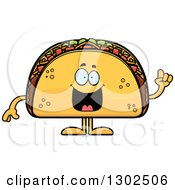 Clipart Of A Cartoon Smart Taco Food Mascot Character With An Idea Royalty Free Vector Illustration by Cory Thoman