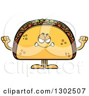 Clipart Of A Cartoon Mad Taco Food Mascot Character Holding Up Fists Royalty Free Vector Illustration by Cory Thoman