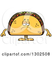 Clipart Of A Cartoon Sad Depressed Taco Food Mascot Character Pouting Royalty Free Vector Illustration by Cory Thoman