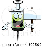 Clipart Of A Cartoon Happy Vaccine Syringe Character Holding A Blank Sign Royalty Free Vector Illustration