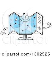 Cartoon Happy Friendly Road Map Atlas Character Waving