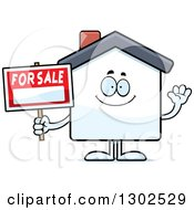 Clipart Of A Cartoon Happy Friendly For Sale House Waving Royalty Free Vector Illustration