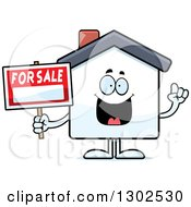Clipart Of A Cartoon Happy Smart For Sale House With An Idea Royalty Free Vector Illustration