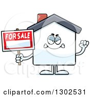 Clipart Of A Cartoon Mad For Sale House Holding Up A Fist Royalty Free Vector Illustration