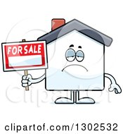Clipart Of A Cartoon Sad Depressed For Sale House Pouting Royalty Free Vector Illustration