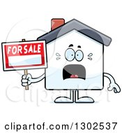 Clipart Of A Cartoon Scared For Sale House Screaming Royalty Free Vector Illustration