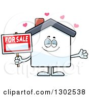 Clipart Of A Cartoon Loving For Sale House With Open Arms And Hearts Royalty Free Vector Illustration by Cory Thoman