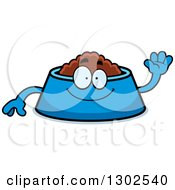 Clipart Of A Cartoon Friendly Pet Food Bowl Dish Character Waving Royalty Free Vector Illustration by Cory Thoman