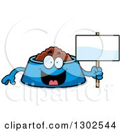 Clipart Of A Cartoon Happy Pet Food Bowl Dish Character Holding A Blank Sign Royalty Free Vector Illustration by Cory Thoman