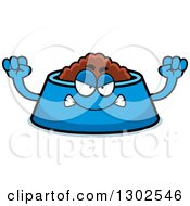 Clipart Of A Cartoon Mad Pet Food Bowl Dish Character Holding Up Fists Royalty Free Vector Illustration by Cory Thoman
