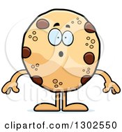 Clipart Of A Cartoon Surprised Chocolate Chip Cookie Character Gasping Royalty Free Vector Illustration