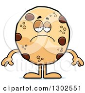 Clipart Of A Cartoon Sad Depressed Chocolate Chip Cookie Character Pouting Royalty Free Vector Illustration