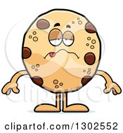 Clipart Of A Cartoon Sick Chocolate Chip Cookie Character Royalty Free Vector Illustration