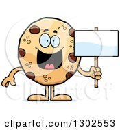 Clipart Of A Cartoon Happy Chocolate Chip Cookie Character Holding A Blank Sign Royalty Free Vector Illustration