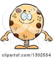 Clipart Of A Cartoon Happy Chocolate Chip Cookie Character Smiling Royalty Free Vector Illustration