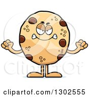 Clipart Of A Cartoon Mad Chocolate Chip Cookie Character Holding Up Fists Royalty Free Vector Illustration