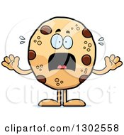 Clipart Of A Cartoon Scared Chocolate Chip Cookie Character Screaming Royalty Free Vector Illustration