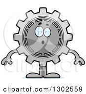 Clipart Of A Cartoon Surprised Gear Cog Wheel Character Gasping Royalty Free Vector Illustration