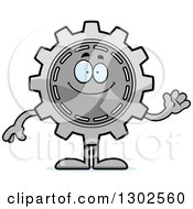 Clipart Of A Cartoon Friendly Gear Cog Wheel Character Waving Royalty Free Vector Illustration