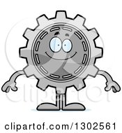 Cartoon Happy Gear Cog Wheel Character Smiling