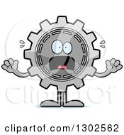 Clipart Of A Cartoon Scared Gear Cog Wheel Character Screaming Royalty Free Vector Illustration