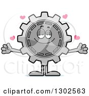 Clipart Of A Cartoon Loving Gear Cog Wheel Character With Open Arms And Hearts Royalty Free Vector Illustration
