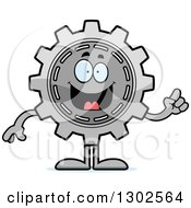 Clipart Of A Cartoon Smart Gear Cog Wheel Character Holding Up A Finger Royalty Free Vector Illustration