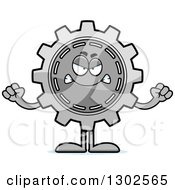 Clipart Of A Cartoon Mad Gear Cog Wheel Character Holding Up Fists Royalty Free Vector Illustration