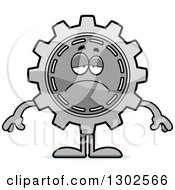 Clipart Of A Cartoon Sad Depressed Gear Cog Wheel Character Pouting Royalty Free Vector Illustration