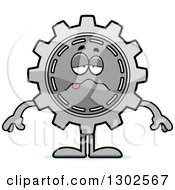 Clipart Of A Cartoon Sick Gear Cog Wheel Character Royalty Free Vector Illustration