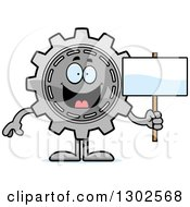 Clipart Of A Cartoon Happy Gear Cog Wheel Character Holding A Blank Sign Royalty Free Vector Illustration