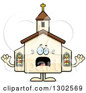Clipart Of A Cartoon Scared Church Building Character Screaming Royalty Free Vector Illustration by Cory Thoman