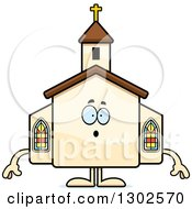 Clipart Of A Cartoon Surprised Gasping Church Building Character Royalty Free Vector Illustration by Cory Thoman