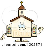 Clipart Of A Cartoon Happy Friendly Church Building Character Waving Royalty Free Vector Illustration by Cory Thoman