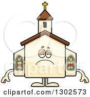 Clipart Of A Cartoon Sad Depressed Church Building Character Pouting Royalty Free Vector Illustration by Cory Thoman