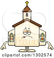 Clipart Of A Cartoon Sick Or Drunk Church Building Character Royalty Free Vector Illustration by Cory Thoman