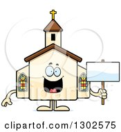 Clipart Of A Cartoon Happy Church Building Character Holding A Blank Sign Royalty Free Vector Illustration by Cory Thoman