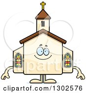 Clipart Of A Cartoon Happy Church Building Character Smiling Royalty Free Vector Illustration by Cory Thoman