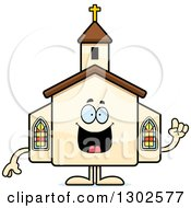 Clipart Of A Cartoon Happy Smart Church Building Character With An Idea Royalty Free Vector Illustration by Cory Thoman