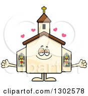Clipart Of A Cartoon Loving Welcoming Church Building Character With Open Arms And Hearts Royalty Free Vector Illustration by Cory Thoman