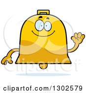 Clipart Of A Cartoon Happy Friendly Bell Character Waving Royalty Free Vector Illustration by Cory Thoman
