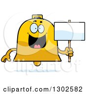 Clipart Of A Cartoon Happy Bell Character Holding A Blank Sign Royalty Free Vector Illustration